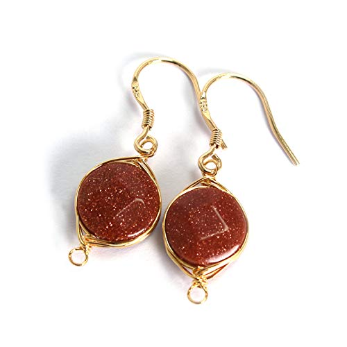 (Scutum Craft Natural Stone Dangle Drop Earrings with Gold Plated Wire Wrap and 925 Sterling Silver Hook Jewelry for Women (Goldstone Round Cut 10mm))