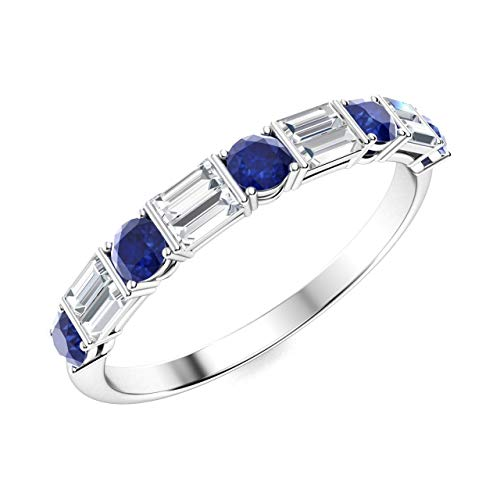 (Diamondere Natural and Certified Blue Sapphire and Baguette Diamond Wedding Ring in 14K White Gold | 1.06 Carat Half Eternity Stackable Band for Women, US Size 6.5)
