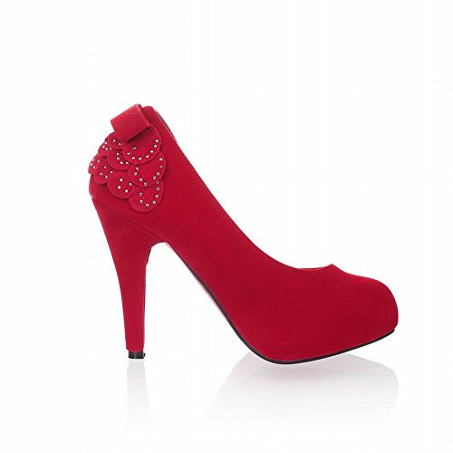 Show Shine Women's Sexy High-heel Stiletto Nubuck Bows Back Court Shoes Red Yfnm4gHH