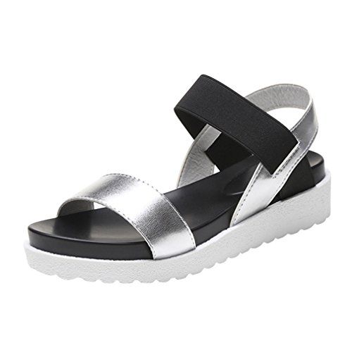 Women Summer Sandals - Fashion Platform Anti-Slip Flat Shoes with Thick Sole Comfortable Casual Outdoor Open Toe Sandals Shoes Silver t32Dg