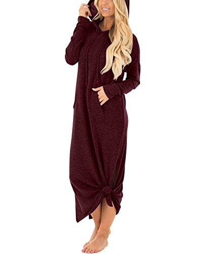 GIKING Women's Hooded Long Sleeve Split Pockets Sweatshirt Pullover Casual Long Dress Wine Red (Pockets Cotton Womens Hoodie)