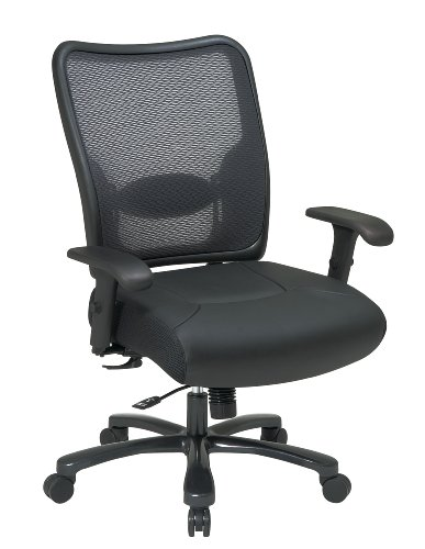 Air Grid Back Leather Chair - Big Man's Chair with Air Grid Back and Leather Seat