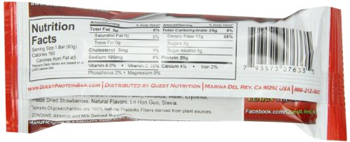 Quest Bar Protein Bar, Strawberry Cheesecake, 2.12 Ounce (Pack of 12)