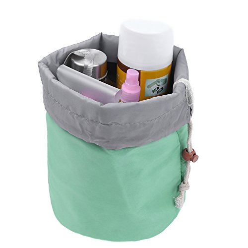 Pretty See Waterproof Makeup Bag Cosmetic Toiletry Bag Travel Barrel Carry Case with Drawstring and 3 Mesh Pockets, Green (Shape Bag)