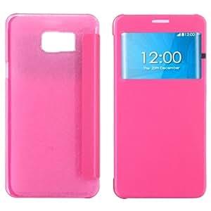 Texture Brushed Horizontal Leather Case Funda Flip Cover con Ventana Caller ID Pantalla Para Samsung Galaxy 5 () Magenta