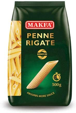 マクファ ブロンズダイス ペンネリガーテ 500g ショートパスタ ハラル認証 コーシャー認証 Makfa Bronze die Penne Rigate 500 gr Halal & Kosher Non-GMO