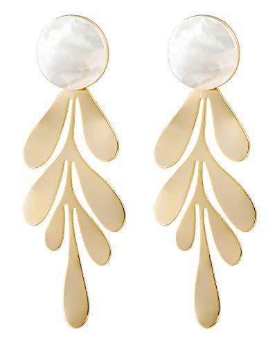 Earrings Dangling Handmade (Gold Leaf Dangle Statement Earrings Bohemian Long Shell Stud Fashion Hand Dangle Earrings Square Hanging Handmade Boho Bridal Chandelier Drop Jewelry Earrings for Women White)