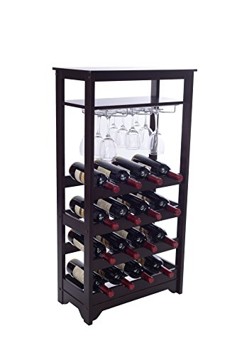 Merry Products 16-Bottle Wine Rack, Espresso - Espresso Wine Cart