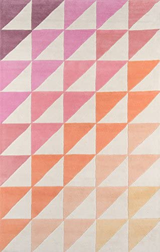 Novogratz Delmar Collection Agatha Side Triangles Area Rug, 8 0 x 10 0 , Pink