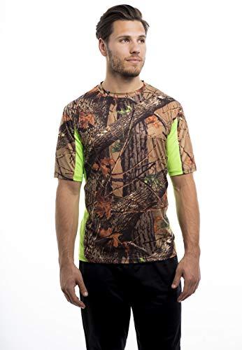 (TrailCrest Men's Camo Impulse 4 Way Stretch Short Sleeve T Shirt, Neon Green, Large)