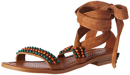 Nine West Womens Xoanna Suede Dress Sandal  Dark Natural  8 5 M Us