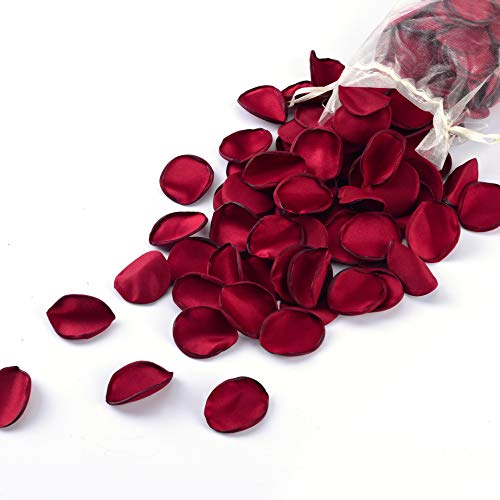Breeze Talk Artificial Flowers Silk Rose Petals Flower Girl Scatter Petals for Wedding Aisle Centerpieces Table Confetti Party Favors Home Decoration (Red Wine, 200)
