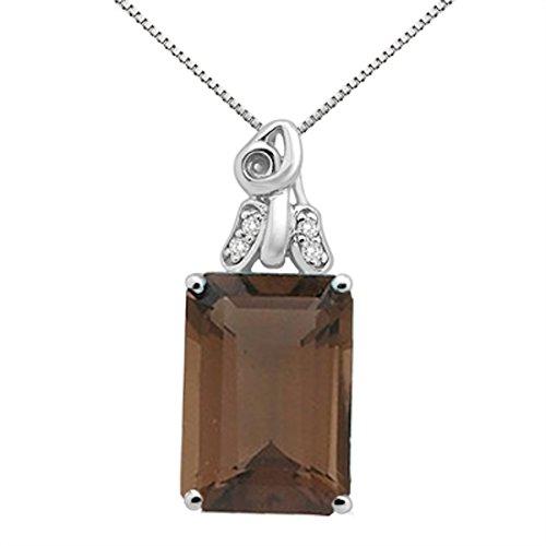Gold Quartz Smokey Necklace - 6.50Ct Emerald Cut Smokey Quartz and Diamond Pendant in 10K White Gold