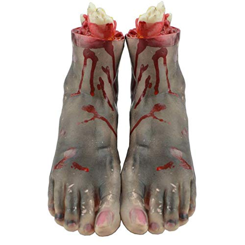 Fairy-Margot 1 Pair 1:1 Size Halloween Decoration Novelty Toys for Gags Practical Jokes Realistic Bloody Hand Foot Halloween Party -