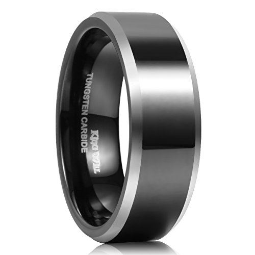 King Will CLASSIC 8mm Black Tungsten Carbide Ring Two Tone Men Wedding Band High Polished Comfort Fit 9.5