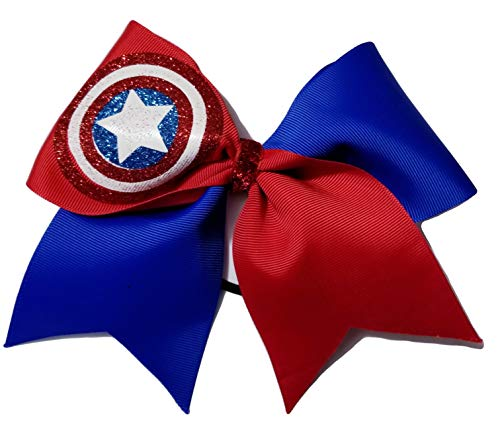 Hair Bow Super Hero - Cheer Bows Blue and red Captain America Hair Bow