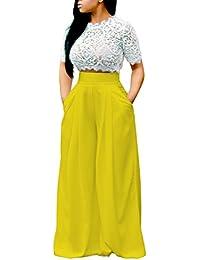 baa3c703b124 Women s Sexy 2 Piece Outfits Mesh See Through Crochet Lace Crop Top High  Waist Wide Leg