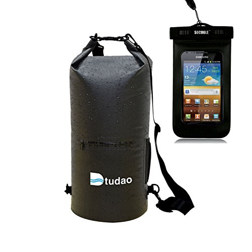 Dry Sack Waterproof, Dtudao Dry Bag with Both In partnership directly Straps,Side & Front Pouch, Perfect for Canoing Kayaking Swimming Hiking Boating Sailing Camping - Giveaway a Waterproof Dry Purse (Black 20L)