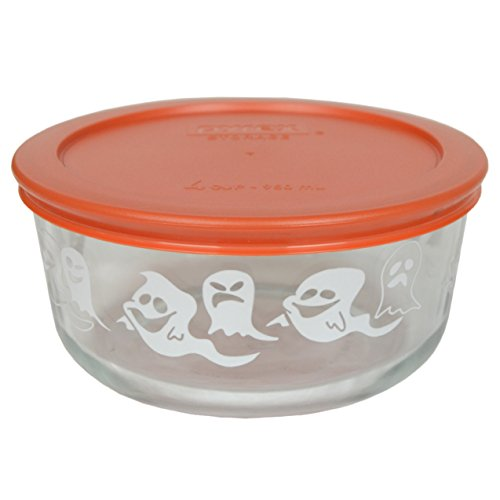 Pyrex 7201 4 Cup Ghost Glass Bowl and 7201-PC Pumpkin Orange Lid