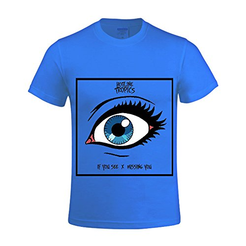 [If You Seemissing You Hotline Tropics Men Crew Neck Graphic T Shirts Blue] (Traditional Russian Outfits)
