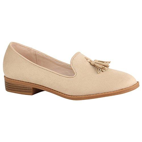 Stiefelparadies Damen Schuhe Slippers Tassel Loafers Quasten Elegante Slip Ons Flandell Creme Quasten