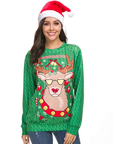 NORA TWIPS Unisex Funny Print Ugly Christmas Sweater Jumper