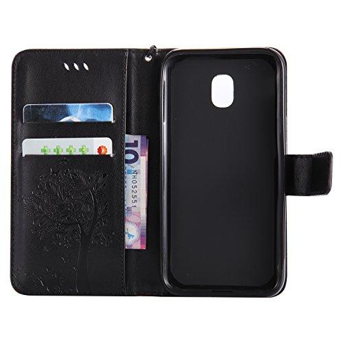 For MAGQI funda Samsung Galaxy J330/J3 2017 (EU Version) Ranuras para Tarjetas y Billetera Soporte Plegable Hebilla Magnética Protección completa ultra delgado Gato y árbol - café Negro