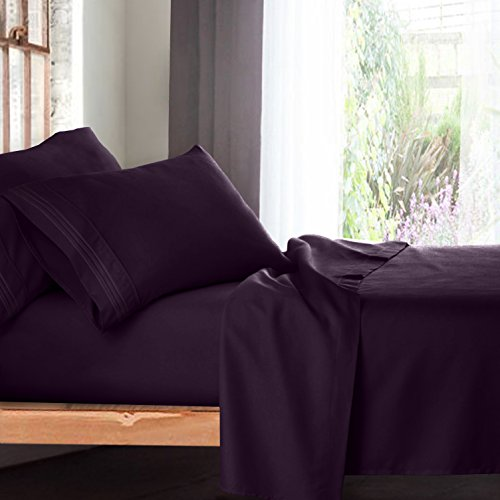 Price comparison product image Premium Full Size Sheets Set - Purple Eggplant Hotel Luxury 4-Piece Bed Set, Extra Deep Pocket Special Super Fit Fitted Sheet, Best Quality Microfiber Linen Soft & Durable Design + Better Sleep Guide