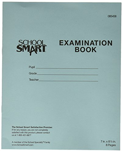Examination Book (School Smart Ruled Examination Blue Books with Margin - 7 in x 8 1/2 in - Pack of 100, 8 Page Books)