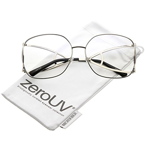 zeroUV - Oversize Abstract Cut Out Arms Square Clear Lens Glasses 65mm (Silver / - Sunglasses Asos