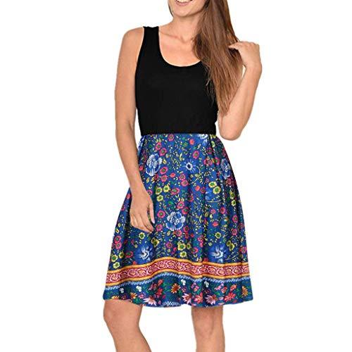 LENXH Ladies Dress Casual Beach Skirt Sleeveless Skirt Print Dress Mosaic Dress Round Neck Blouse Blue