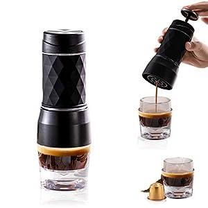 Machine à Expresso Portative,Cafetière Compatible avec le Café en Poudre et les Capsules de Café,Cafétière Manuelle pas…