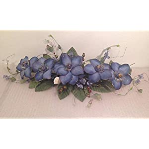 "reech852014 24"" Silk Magnolia Swag Artificial Flower Home Wedding Centerpiece Decor (Blue) 23"
