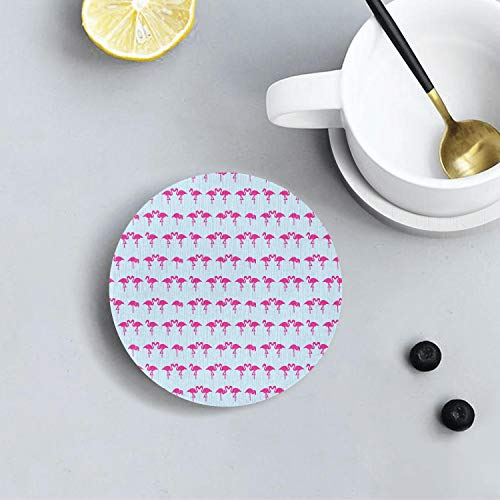 Flamingo Kiss Love Design Diatomite Drink Coasters Environmental Health Absorbent Coaster Prevent Furniture From Dirty and Scratched Suitable for Kinds Of Cup and Mugs ()