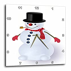3dRose dpp_20524_1 Jolly Snowman Cartoon with Top Hat and Scarf Wall Clock, 10 by 10-Inch