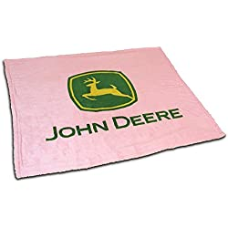 John Deere Logo Pink Sherpa Fleece Throw Blanket