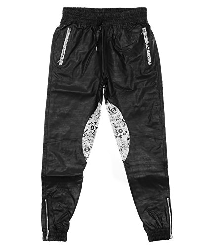 Coke Boys Men's Embossed faux Leather Lined Jogger (Embossed Leather Pants)