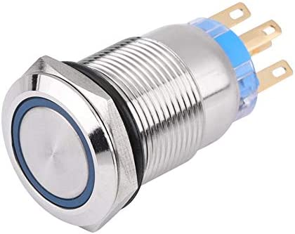 Self-locking button,Keenso 19mm 12V LED Waterproof Stainless Self-locking Latching Push Button Switch On//Off Latch Button Switch 1NO1NC Blue