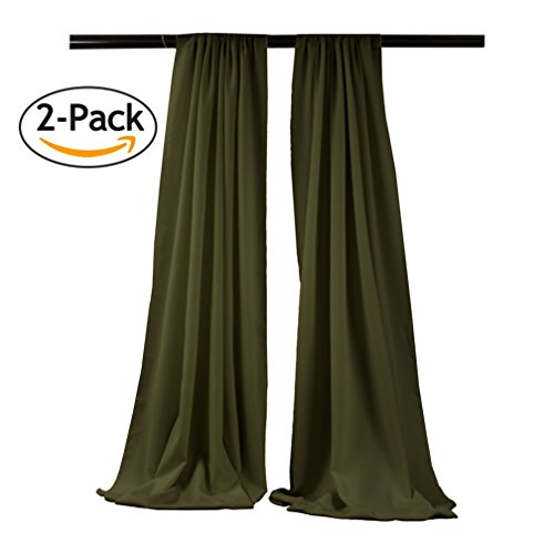 LA Linen Pack-2 Polyester Poplin Backdrop Drape 96 by 58-Inch Wide, Olive, 96 x 58, ()