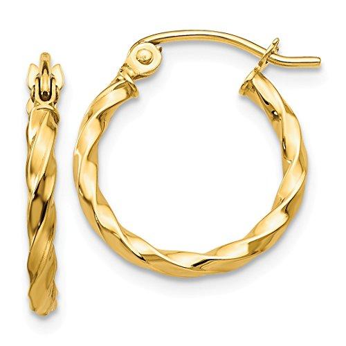 14k Yellow Gold Twist Hoop Earrings Ear Hoops Set Fine Jewelry For Women Gift Set