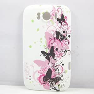 New Fashion Art Black Butterflies And Pink Butterfly TPU GEL Soft Silicone Case Cover Skin For Htc Sensation Xl G21