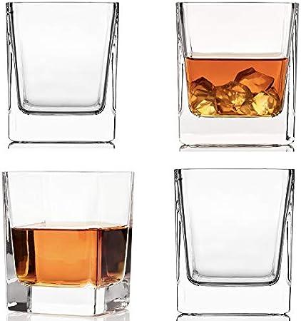 Juego de 2 vasos de cristal de whisky redondos.,Gafas de whisky de alta calidad de 300 ml con diseño