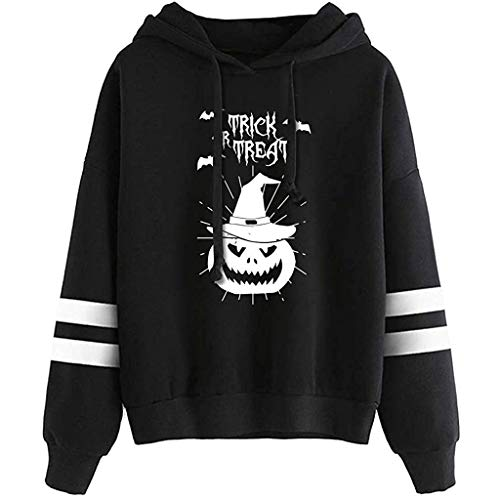 MEEYA Halloween Print Hoodies for Women & Men, Long Sleeve Drawstring Sweatshirt Casual Tops Black