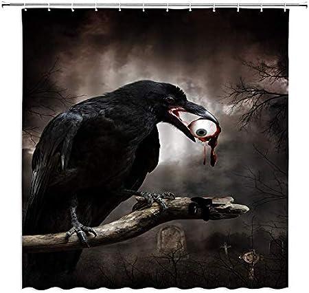 MMPTn Halloween Rideaux Douche Horreur Corbeau Oiseau cimeti/ère Grave Globe oculaire Nuit Bain Rideau /étanche 71x71 Pouces Tissu imperm/éable Comprend Douze Crochets Plastique