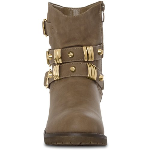 CASPaR Women's Vintage Biker Boots with Studs and Buckle 2 Colours Size: 3 Zolh8bynJw