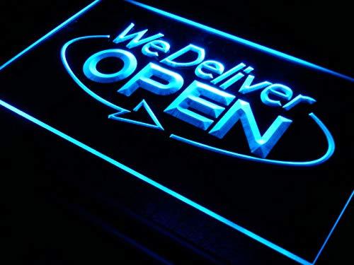 - ADVPRO i028-b Open We Deliver Services Cafe NR Neon Light Sign