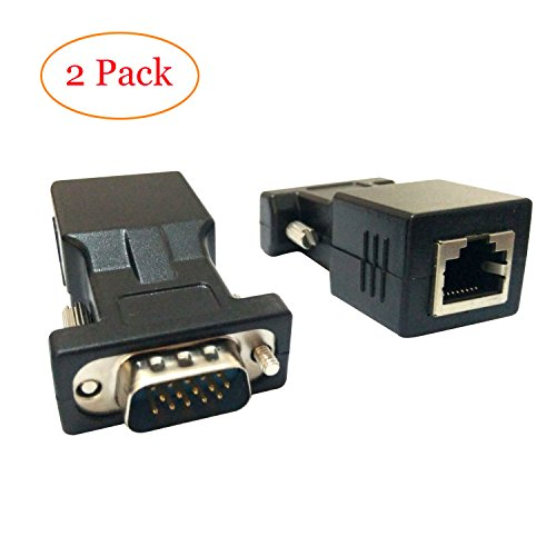 Display Extender 15 Pin (VGA Extender Adapter Cat5/Cat6/RJ45,Tongbao TOB33 VGA 15 Pin Male to RJ45 Female Network Cable Connector 2Pack)