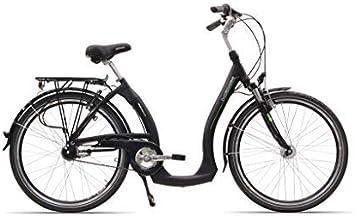 Hawk Green City Plus fácil – elegante aleación con bajo para bicicleta urbana y 3 velocidad Hub Gear – Marco de aluminio horquilla de suspensión, color negro, tamaño 0,66 m (26 pulgadas),