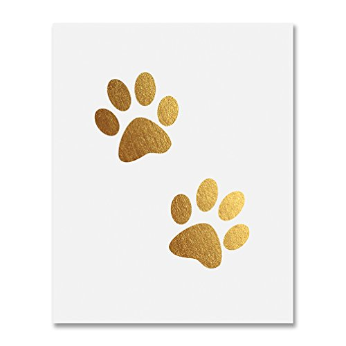 Paw Prints Gold Foil Decor Dog or Cat Person Home Wall Art Print Animal Lover Metallic Poster 8 inches x 10 -