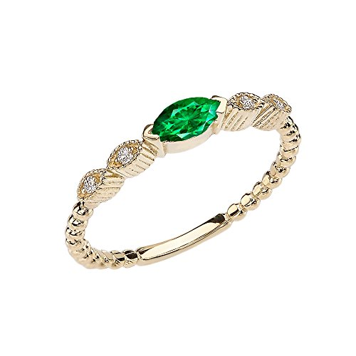 Modern Contemporary Rings 14k Yellow Gold Marquise Cut Engagement/Proposal Diamond Ring with Emerald Center Stone (Size 8)